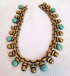 vintage-Joseff-of-Hollywood-collar-necklace-turquoise-glass-cabs-signed-Joseff