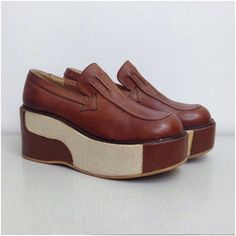 RARE Vintage NOS Deadstock 1970s 2 Tone Brown Designer Platform Wedge Shoes / Women's 8 / 70s Slip On Novelty Disco Slade Era Unworn