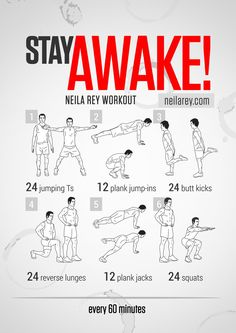 If you need to work late and stay focused exercise is a great way to keep your body and mind awake. Try this workout if you want to give you...