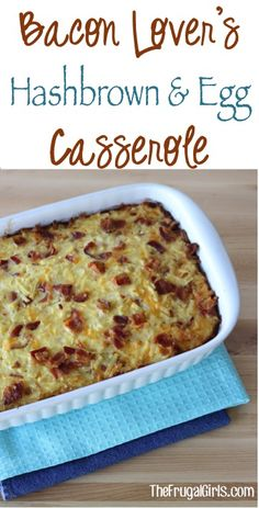 Bacon Lover's Hashbrown and Egg Breakfast Casserole Recipe! ~ from ~ this easy and delicious casserole is perfect for Weekend Brunch, Breakfast for Dinner nights, and any Holiday morning! Lover's Hashbrown and Egg Breakfast Casserole Recipe! Breakfast For Dinner, Breakfast Dishes, Breakfast Time, Best Breakfast, Breakfast Recipes, Breakfast Hash, Breakfast Ideas, Hash Brown Egg Casserole, Breakfast Egg Casserole
