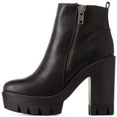 Charlotte Russe Black Bamboo Lug Sole Platform Chunky Heel Booties by... ($46) ❤ liked on Polyvore featuring shoes, boots, ankle booties, black, black boots, chukka boots, black platform booties and black ankle booties