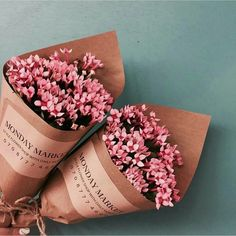 Pretty blooms, brown paper