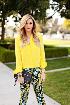 Yellow + patterned pants + red lip
