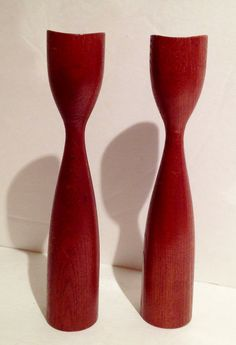 Groovy Pair Of Mad Men 1960's Danish Mid-Century Modernist Teak Hand Turned Candle Sticks