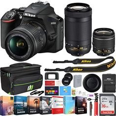 Nikon DSLR Camera w/AF-P VR Lens & Dual Zoom Lens - (Renewed) + Bundle : Camera & Photo Cameras for Photography. This Certified Refurbished product is refurbished to factory specifications, it shows limited or no wear. Best Dslr, Best Camera, Camera Nikon, Camera Gear, Dslr Cameras, Best Professional Camera, Bridge Camera, Camera Photos, Small Camera