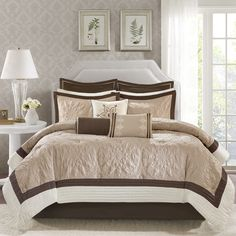 For the more traditional bedroom, spruce up your decor with a pop of color in the Melanie Comforter Set. Made from polyester quilted charmeuse, this decorative collection features chocolate brown, taupe and ivory accents.