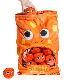 Plush Cheesy Puffs: Giant stuffed bag of cute plush cheese snacks. Food Pillows, Cute Pillows, Little Pet Shop, Little Pets, Food Plushies, Yummy World, Axolotl, Sonic, Cute Stuffed Animals