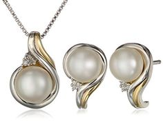 Sterling Silver, 14k Yellow Gold, Freshwater Cultured Pearl, and Diamond Accent Pendant Necklace available at joyfulcrown.com