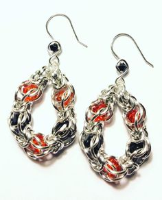 Excited to share this item from my shop: Halloween Earrings Captured Orange and Black Bead Silver Chainmaille Halloween Earrings, Halloween Jewelry, Silver Earrings, Drop Earrings, Chainmaille, Jewelry Making, Jewels, Orange, Beads