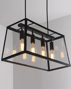 4 Lights Retro Industrial Style Pendant Light with Metal Framed Glass Box
