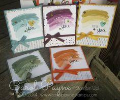 Stampin' Up!, Work of Art, 2014/2015 In Colors, Moonlight, Lullaby, Blackberry Bliss, Lost Lagoon, Hello Honey, Mossy Meadow, Tangelo Twist www.carolpayne.stampinup.net