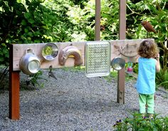 Backyard Design: DIY Outdoor Sound Wall/Music Station Post includes details on how to build your own FUN AT HOME WITH KIDS