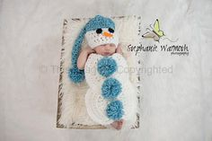 Snowman crochet hat and body cover/tushy by KnitsNKnotsByFrances, $25.00