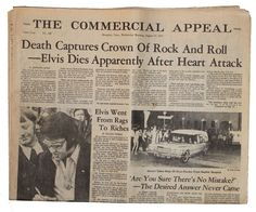 Elvis Presley Dies The Commercial Appeal Memphis TN August 17 1977 Newspaper From Rags To Riches, Newspaper Headlines, My Kind Of Town, Memphis Tennessee, Graceland, Pop Music, Elvis Presley, Back Home, Vintage