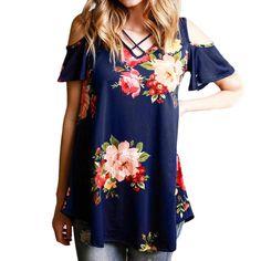 Women's Open Shoulder Floral Top