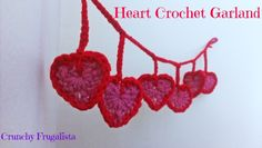 Make these adorable Valentine's Day Crafts for your home. It's an easy crocheted heart garland that you can easily teach your older children how to make.
