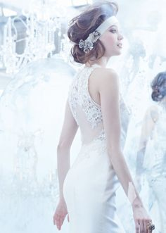 Lazzaro Wedding gown with a dreamy back.