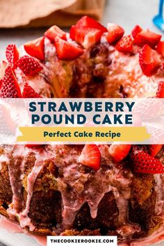 This strawberry pound cake is one delicious dessert! Made with fresh strawberries, drizzled with a sweet syrup and finished with a tangy glaze, every bite is so tasty! Easy Cheesecake Recipes, Pound Cake Recipes, Dessert Recipes, Pound Cakes, Sweet Desserts, Sweet Recipes, Delicious Desserts, Stella Recipe, Perfect Cake Recipe