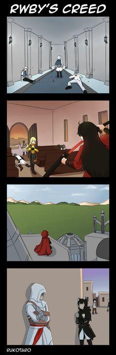 [Request] RWBY x Assassin's Creed by Rukotaro on DeviantArt Rwby Anime, Rwby Fanart, Fandom Crossover, Anime Crossover, Rwby Memes, Rwby Red, Rwby Characters, Rwby Comic, Rwby Ships