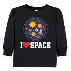 I Love Space Rocket Ship Toddler Long Sleeve Tee Black  21.99  www.homewiseshopperkids.com 351b1230b3ace