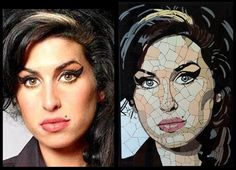 Made from hundreds of tiny tiles fragments. String Art Patterns, Mosaic Patterns, Mosaic Crafts, Mosaic Projects, Mosaic Glass, Mosaic Tiles, Stained Glass, Mosaic Portrait, Amy Winehouse
