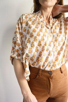 Mandarin Collar Top - Little Marigolds Collar Top, Mandarin Collar, Marigold, Myrtle, Organic Cotton, Closet, Tops, Women, Style