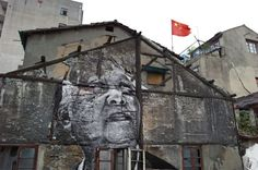 The Wrinkles of the City - Shanghai | JR - Artist  Action in Shanghai, Jiang Qizeng - Red Flag, Chine, 2010