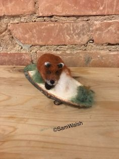 Handmade with Natural Wool. Fox Is Attached To Wood Base. Needle Felted Animals, Felt Animals, Needle Felting, Felt Penguin, Felt Fox, Quirky Gifts, Unusual Gifts, Felt Gifts, Felt Mouse