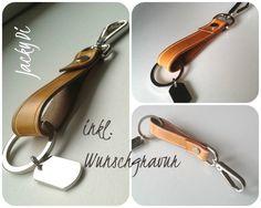 Handgefertigter Unikat Schlüsselanhänger mit Karabiner in hochwertiger Kombination aus Metall, Edelstahl und Echtleder  mit individueller Gravur.