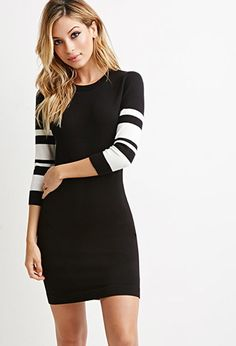 Striped-Sleeve Bodycon Dress | Forever 21 - 2000155314