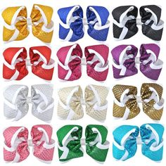 Grosgrain Ribbon oversize hair bows are made with ribbon and measure approximately 8 inches in width. These big hair bows are perfect for your little girl. Cheerleading Jumps, Cheer Stunts, Cheer Hair, Cheer Bows, Purple Roses, Pink Purple, Cheer Pictures, Softball Pictures, Big Hair Bows