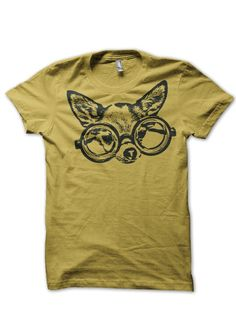 Hipster Chihuahua with Glasses - Urbarian Organic Tshirt Available in Men Women xs-s-m-l-xxl on Etsy, $28.00