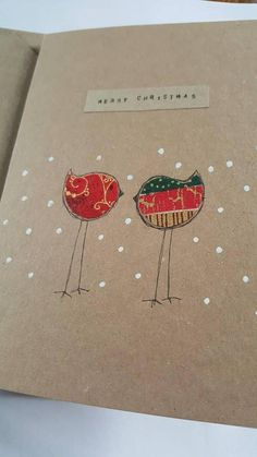 A handmade hand drawn card perfect for a friend at Christmas Holiday time. It depicts 2 stick robins in the snow using a combination of seasonal fabric and white paint. All cards packaged in protective cello wrapper. Homemade Christmas Cards, Christmas Cards To Make, Diy Christmas Gifts, Handmade Christmas, Holiday Cards, Christmas Decorations, Christmas Ornaments, Holiday Time, Christmas Lights