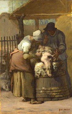 Jean-Francois Millet, The Sheepshearers, 1857/61 on ArtStack #jean-francois-millet #art