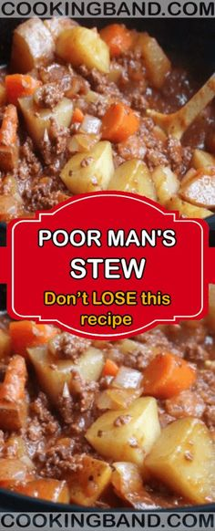 Poor mans stew easy recipe your life hamburger meat recipes hash brown breakfast casserole Crock Pot Recipes, Stew Meat Recipes, Slow Cooker Recipes, Cooking Recipes, Recipe Stew, Crock Pot Cooking, Poor Man Stew Recipe, Poor Man Soup, Stewing Beef Recipes