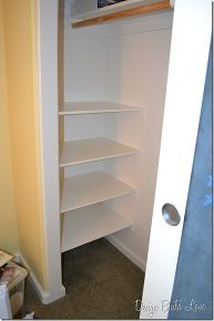 7 simple steps to create cheap easy built in closet storage, cleaning tips, closet, diy, shelving ideas, storage ideas, Next I placed the shelves on top of the supports and used finishing nails and a hammer to secure the shelves to the wall supports After that I threw on two coats of high gloss white paint to finish them off Pretty pretty