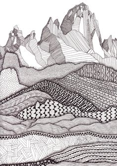 Patterns on Patagonia Art Print / Mountain Art Print / Giclee Print / Black and White Art / Landscape Wall Art : Patterns on Patagonia Art Print / Mountain Art Print / Giclee Print / Black and White Art / Landscap Mountain Drawing, Mountain Art, Abstract Landscape, Landscape Paintings, Acrylic Paintings, Landscape Design, Landscape Architecture, Park Landscape, Architecture Graphics