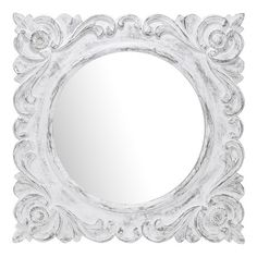 distressed aged wall mirror with a carved scroll frame product