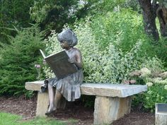Statue of a girl reading a book sitting on a stone bench, Blowing Rock, North Carolina. People Reading, Girl Reading Book, Reading Art, Woman Reading, Reading Books, I Love Books, Books To Read, Book Sculpture, World Of Books