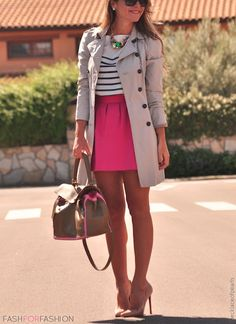 Khaki trench coat, stripped shirt, neon pink skirt, & heels!