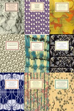 18) I love the floral/ patterned only effect. Gathered together like this these book covers remind me of the fancy tea bag packets you get in whittards- ie cute.