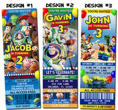 Toy Story Movie Ticket Invitations
