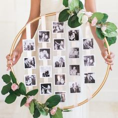 28 Creative Handmade Photo Crafts with Tutorials DIY Floral Photo Hoop. This DIY floral photo hoop is a beautiful way to showcase your cherished photos in your wedding. Dream Wedding, Wedding Day, Wedding Aniversary, Wedding Gift Ideas For Bride And Groom, Wedding Reception, Trendy Wedding, Elegant Wedding, Floral Wedding, Anniversary Parties
