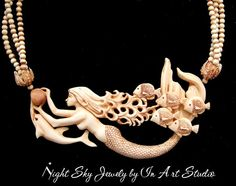 Mermaid and Sea Life Necklace Antique Ivory Resin by InArtStudio, $179.00
