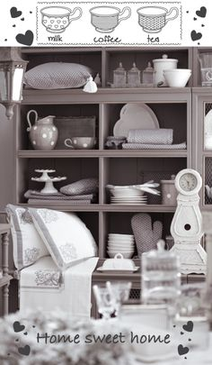 grey and shabby dining room Shabby Chic Interiors, Bookcase, Sweet Home, Dining Room, Shelves, Grey, Kitchen, Home Decor, Ideas