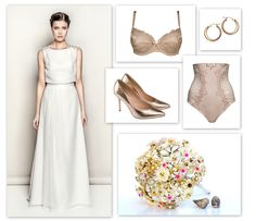 Stylizacja na wesele, ślub. Złote dodatki - szpilki Conhpol Woman, kolczyki Yes, bielizna Samanta. Suknia Juda Pietkiewicz. Wedding dress.