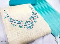 Khadi Cotton Dress Material Suits for Women's from Stf Store Hand Embroidery Dress, Embroidery On Kurtis, Kurti Embroidery Design, Flower Embroidery Designs, Embroidery Fashion, Chudidhar Neck Designs, Neck Designs For Suits, Sleeves Designs For Dresses, Fabric Paint Shirt