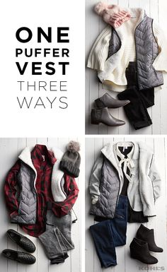 Casual and cute pretty in pink or dressed up for a night outthis puffer vest will be one of the most versatile (and cozy!) pieces of your winter outfits. Featured fashion includes: juniors SO sherpa-lined puffer vest. - March 02 2019 at Puffer Vest Outfit, Vest Outfits, Casual Fall Outfits, Mom Outfits, Fall Winter Outfits, Autumn Winter Fashion, Cute Outfits, Fashion Outfits, Women's Fashion