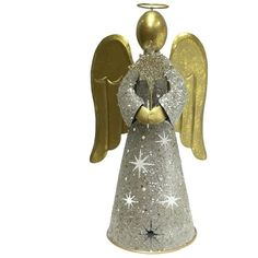 St. Nicholas Square® Glitter Angel Tealight Candle Holder (£24) ❤ liked on Polyvore featuring home, home decor, candles & candleholders, multicolor, colorful home decor, metal tea light holders and metal home decor