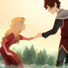 Blonde princess and brown-haired prince.